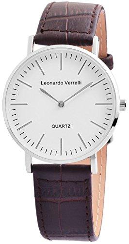 Leonardo Verrelli Herrenuhr mit Echtlederarmband
