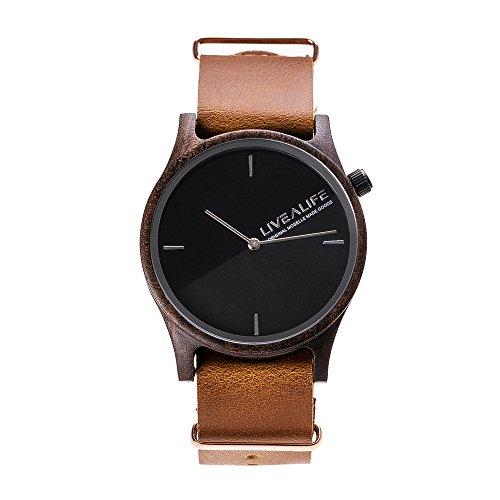 LIVEALIFE Unisex Holzuhr Quarz Uhrwerk Armbanduhr Holz Wechselband Leder Lederband schwarz minmalistisches Design silber Damen Herren 38mm