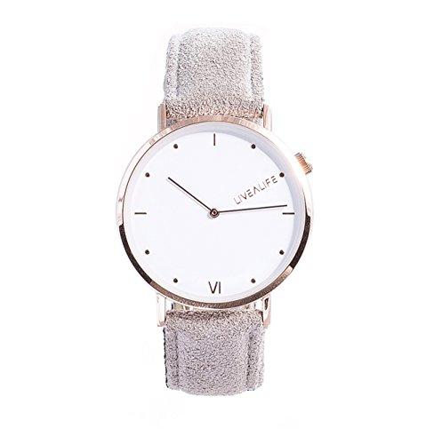 LIVEALIFE grau Unisex Armbanduhr duenn Analog Quarz 40mm Leder Wildleder Vintage Business Look Minimalistisches Design rose gold Damen und Herren