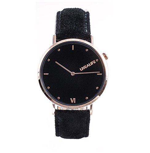 LIVEALIFE Unisex Armbanduhr duenn Analog Quarz Leder Wildleder Vintage Business Look Minimalistisches Design rose gold Damen und Herren schwarz