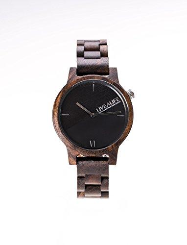 LIVEALIFE SANDELHOLZ Holzuhr Chinnar black schwarz mit Schweizer Uhrwerk