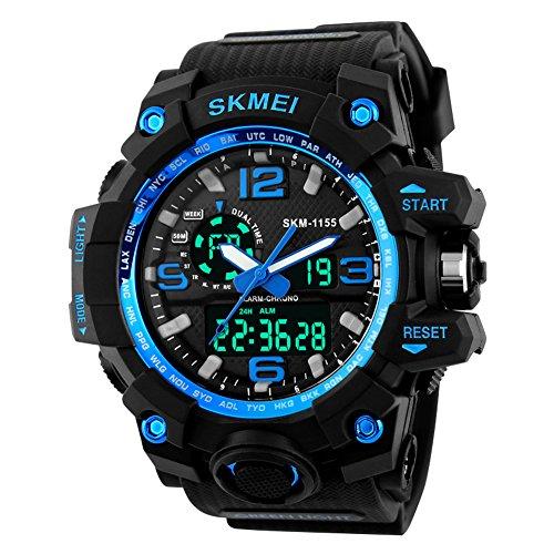 Jelercy Dual Dial Analog Digital Quarz Elektronische LED Display 5 ATM 50 m Wasserdicht Running UEbergrosse Face Sport Uhren fuer Maenner Blau