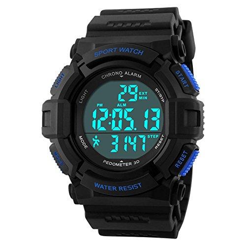 jelercy Multi Funktion Digital LED wasserdichte Sport Armbanduhr Jungen Uhren fuer Maenner zwei Farben