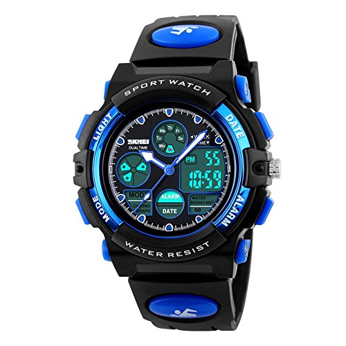 Jelercy Multifunktionale Digital Armbanduhr LED Quarz wasserdicht Sportuhr Blau
