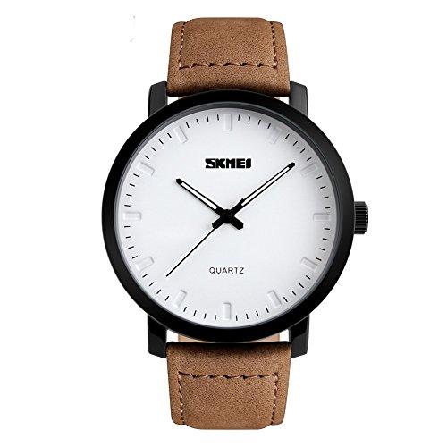 Jelercy Quarz Analog 3 ATM 30 m Wasserdicht Leder Armbanduhr Band Handgelenk business casual einfach Uhren fuer Maenner