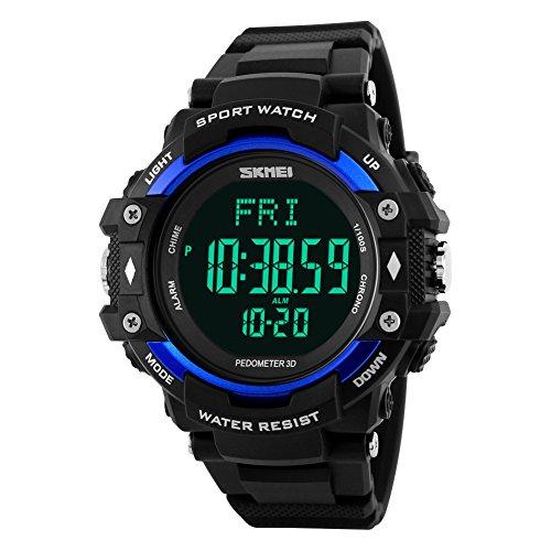 Jelercy Herren Digital Wasserdicht Sport Uhrs mit Monitor von Herzfrequenz Fusshuelse und Kalorien Verfolgen Blau