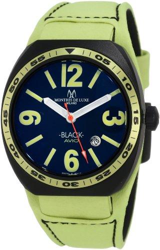 Montres De Luxe Herren BK2503 Avio Aluminium schwarz PVD Gruen Lederarmband Uhr