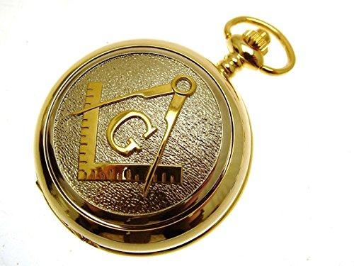 Freimaurer Taschenuhr Gold Zwei Ton Design Mutter der Perle Gravur inklusive Design 70