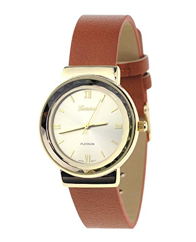 Geneva Armbanduhr Japanisches Uhrwerk Gehaeuse Edelstahl Leger Hellbraun Kunstleder Band