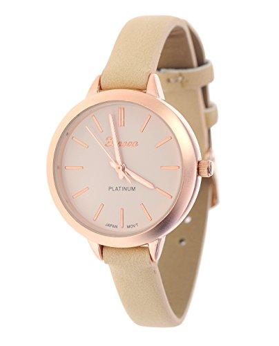 Damen Armbanduhr Geneva Japanisches Uhrwerk Gehaeuse Edelstahl Beige Rosaton Kunstleder Schmales Band