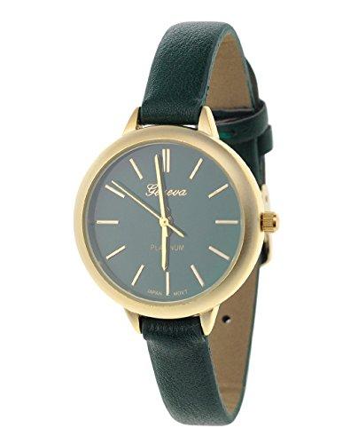 Damen Armbanduhr Geneva Japanisches Uhrwerk Gehaeuse Edelstahl Gruen Kunstleder Schmales Band