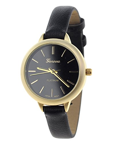 Damen Armbanduhr Geneva Japanisches Uhrwerk Gehaeuse Edelstahl Schwarz Kunstleder Schmales Band