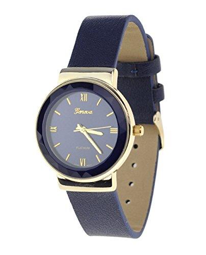 Geneva Armbanduhr Japanisches Uhrwerk Gehaeuse Edelstahl Leger marineblau Kunstleder Band