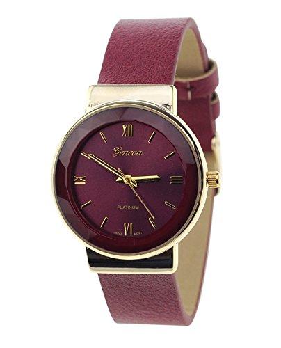 Geneva Armbanduhr Japanisches Uhrwerk Gehaeuse Edelstahl Leger Burgund Kunstleder Band