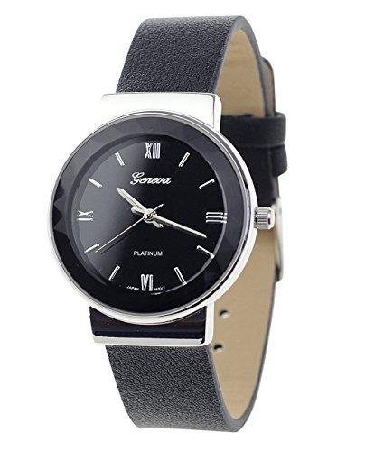 Geneva Armbanduhr Japanisches Uhrwerk Gehaeuse Edelstahl Leger Schwarz Kunstleder Band