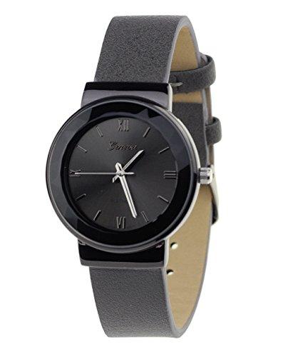 Geneva Armbanduhr Japanisches Uhrwerk Gehaeuse Edelstahl Leger Grau Kunstleder Band