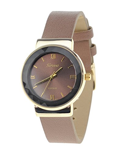 Geneva Armbanduhr Japanisches Uhrwerk Gehaeuse Edelstahl Leger Braun Kunstleder Band