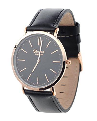 Maenner Armbanduhr Geneva Japanisches Uhrwerk Gehaeuse Edelstahl Echtes Leder Band Schwarz Schwarz Schwarz
