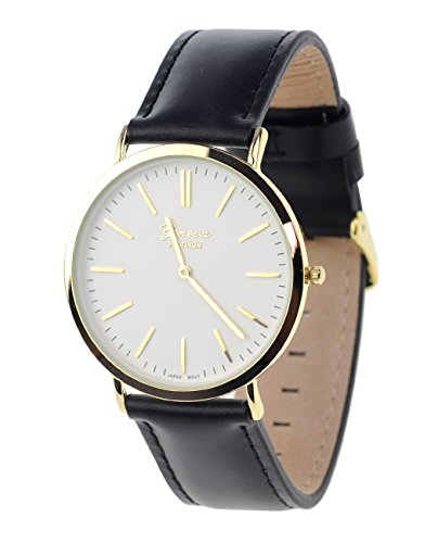 Maenner Armbanduhr Geneva Japanisches Uhrwerk Gehaeuse Edelstahl Echtes Leder Band Schwarz Weiss