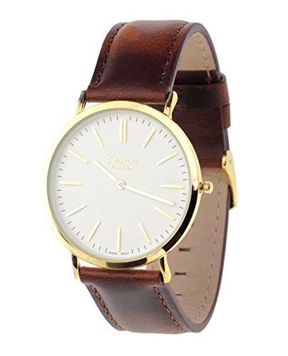 Maenner Armbanduhr Geneva Japanisches Uhrwerk Gehaeuse Edelstahl Echtes Leder Band Braun Weiss