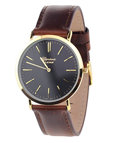 Maenner Armbanduhr Geneva Japanisches Uhrwerk Gehaeuse Edelstahl Echtes Leder Band Braun Schwarz