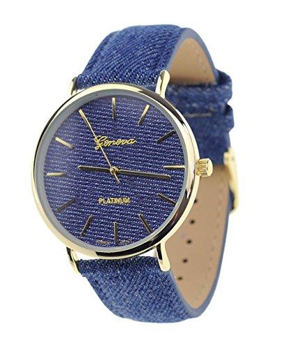 Unisex Armbanduhr Geneva Japanisches Uhrwerk Goldton Dunkles Denim Bedeckt Kunstleder Band