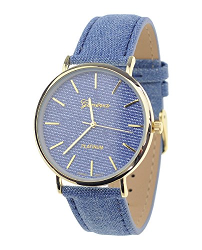 Unisex Armbanduhr Geneva Japanisches Uhrwerk Goldton Denim Bedeckt Kunstleder Band