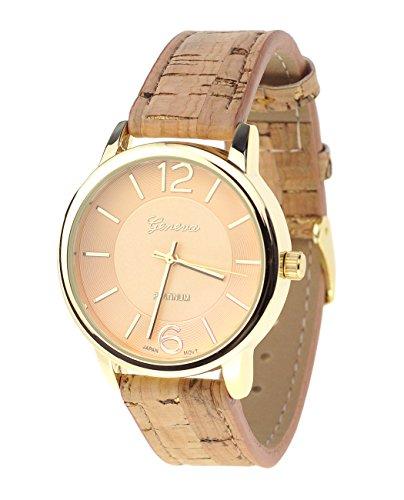 Damen Armbanduhr Geneva Japanisches Uhrwerk Goldton Holz Look Kunstleder Band