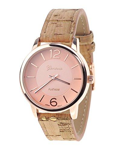 Damen Armbanduhr Geneva Japanisches Uhrwerk Rosegold Holz look Kunstleder Band