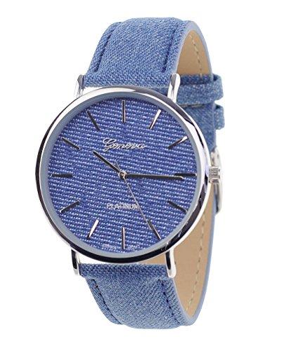 Unisex Armbanduhr Geneva Japanisches Uhrwerk Silberton Denim Bedeckt Kunstleder Band