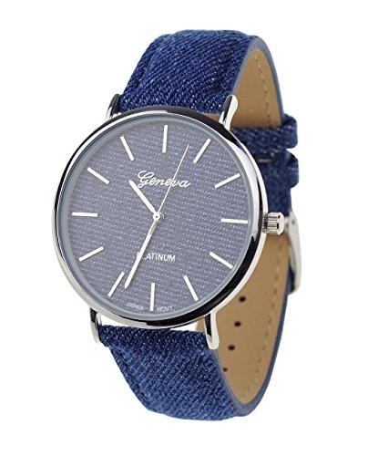 Unisex Armbanduhr Geneva Japanisches Uhrwerk Silberton Dunkles Denim Bedeckt Kunstleder Band