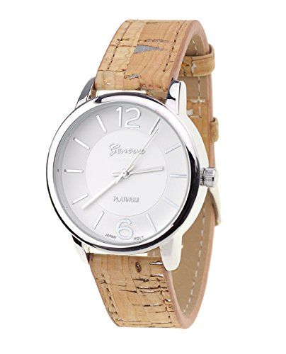 Damen Armbanduhr Geneva Japanisches Uhrwerk Silberton Holz Look Kunstleder Band