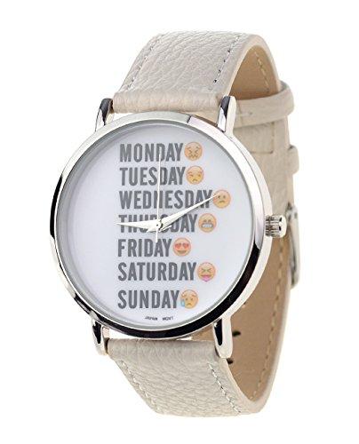 Maenner Armbanduhr Geneva Japanisches Uhrwerk Wochentage Emoji Gesichter Weiss Kunstleder Band