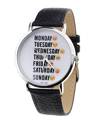 Maenner Armbanduhr Geneva Japanisches Uhrwerk Wochentage Emoji Gesichter Schwarz Kunstleder Band