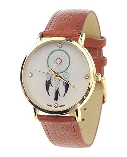 Dreamcatcher Armbanduhr Japanisches Uhrwerk Gehaeuse Edelstahl Braun Kunstleder Band