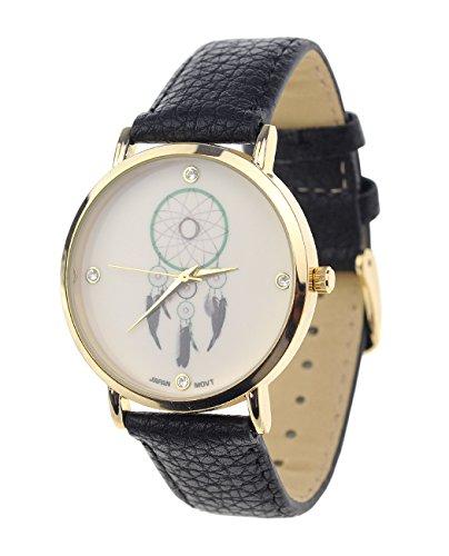 Dreamcatcher Armbanduhr Japanisches Uhrwerk Gehaeuse Edelstahl Schwarz Kunstleder Band