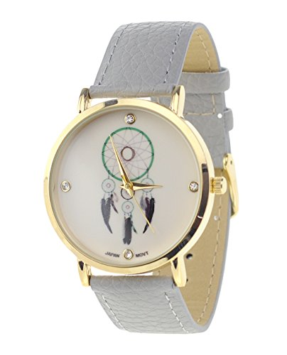 Dreamcatcher Armbanduhr Japanisches Uhrwerk Gehaeuse Edelstahl Grau Kunstleder Band