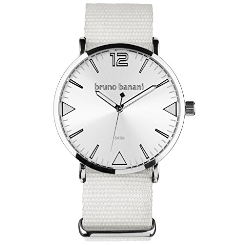 bruno banani BR30051 Cool Color Uhr Unisex Stoffband Metall 50m Analog weiss
