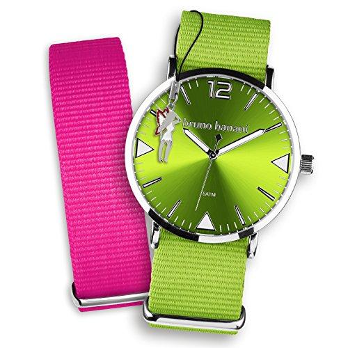 Bruno Banani Damen Herren Armbanduhren Set Quarz Uhr Textil Nylon Armband gruen pink Fee Anhaenger UBRS58PI