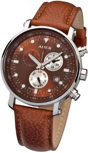 Urs Auer ZU-611 Venetian Brown Chronograph fuer Ihn SWISS ISA
