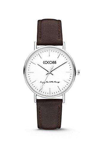 COCO88 8CW 1000X mit Lederband Ziffernblattfarbe weiss Gehaeusefarbe silber Armbandfarbe Dunkelbraun