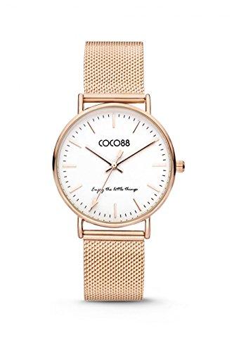 COCO88 8CW 1000X mit Milanaiseband Ziffernblattfarbe weiss Armbandfarbe Rosegold Gehaeusefarbe rosegold