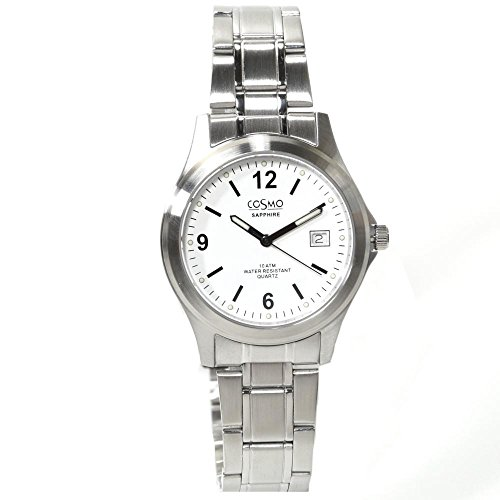 Cosmo 33004RMB weiss Uhr Edelstahl 100m Analog Datum weiss