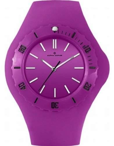 Alpha Saphir Damen-Uhren Quarz Analog 345E, 38 mm violett