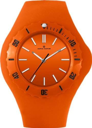 Alpha Saphir Damen-Uhren Quarz Analog 345H, 38 mm orange