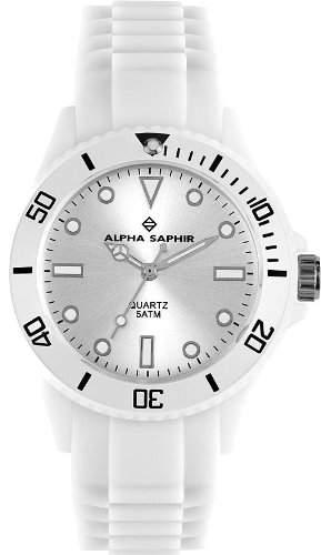 Alpha Saphir Unisex-Armbanduhr 370B, 40 mm weiss