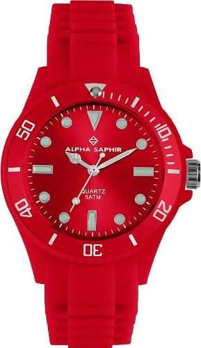 Alpha Saphir Unisex-Armbanduhr 370D, 40 mm rot