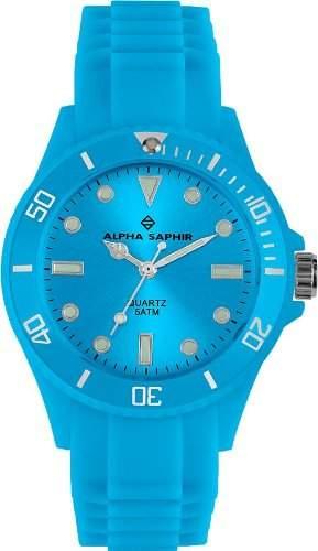 Alpha Saphir Unisex-Armbanduhr 370L, 40 mm blau