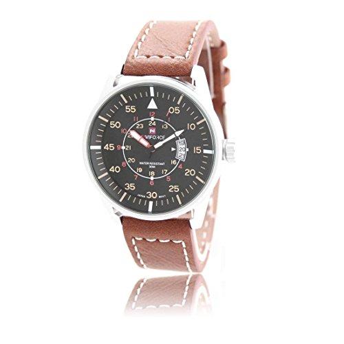 Armbanduhr mit Leder braun naviforce 1608