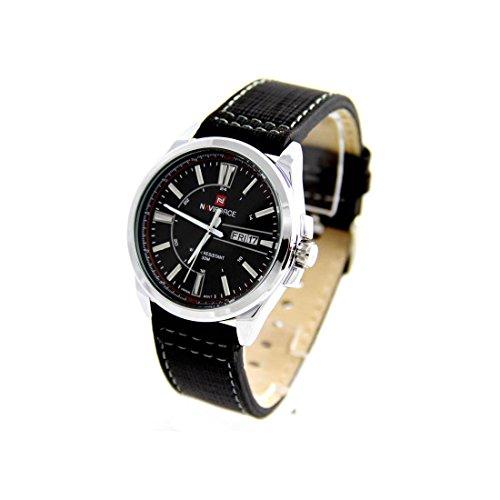 Zeigt Herren Schoenes Armband Leder schwarz naviforce 549